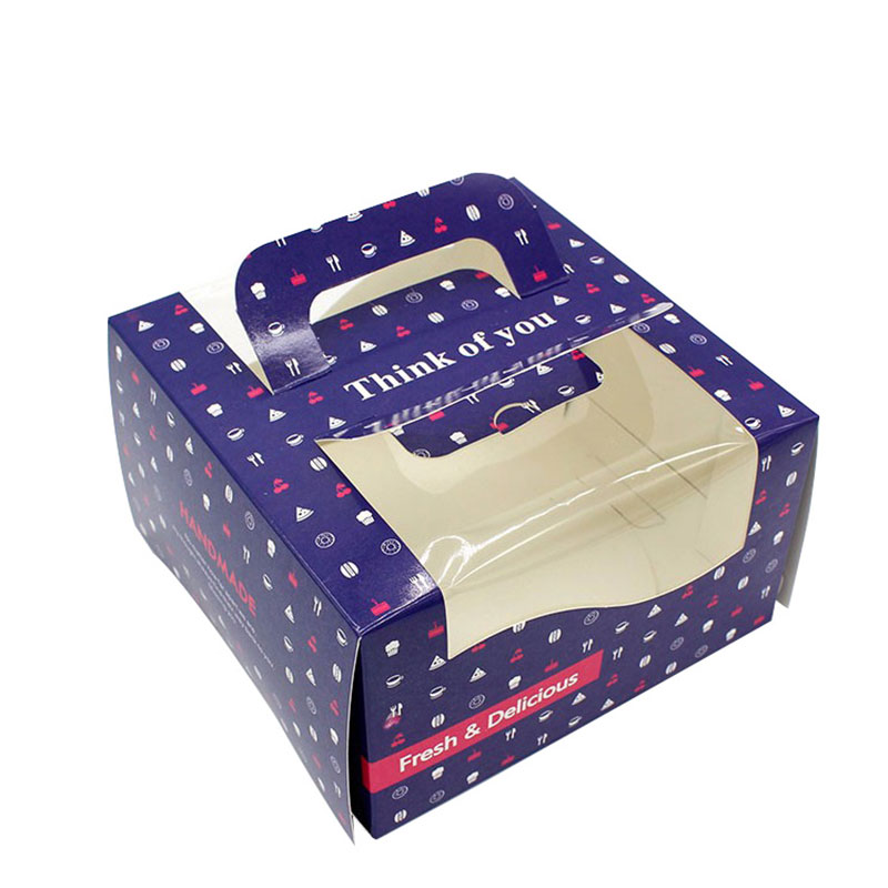 Custom Blue Big Paper Portable Butterfly Cake Packaging Box