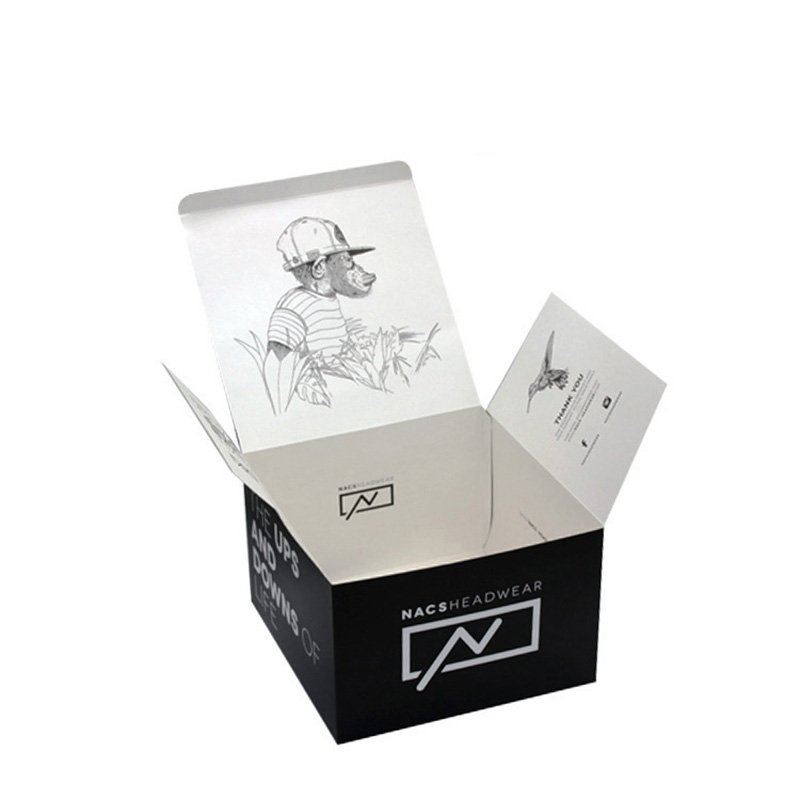 Custom Design Logo Black Folding Paper Baseball Cardboard Hat Box
