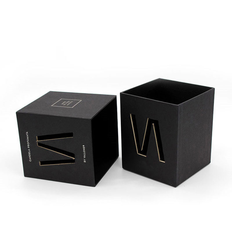 Luxury Cardboard Paper with Lid Shipping Black Candle Gift Box
