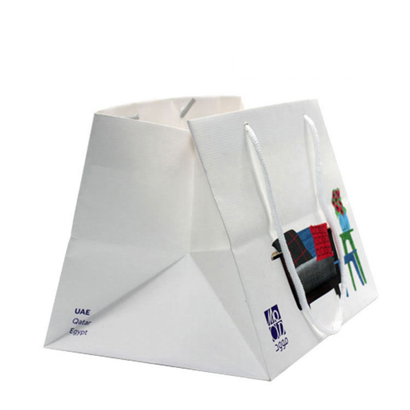 Custom Design Fashion Famous Brand Shopping White Paper Bag