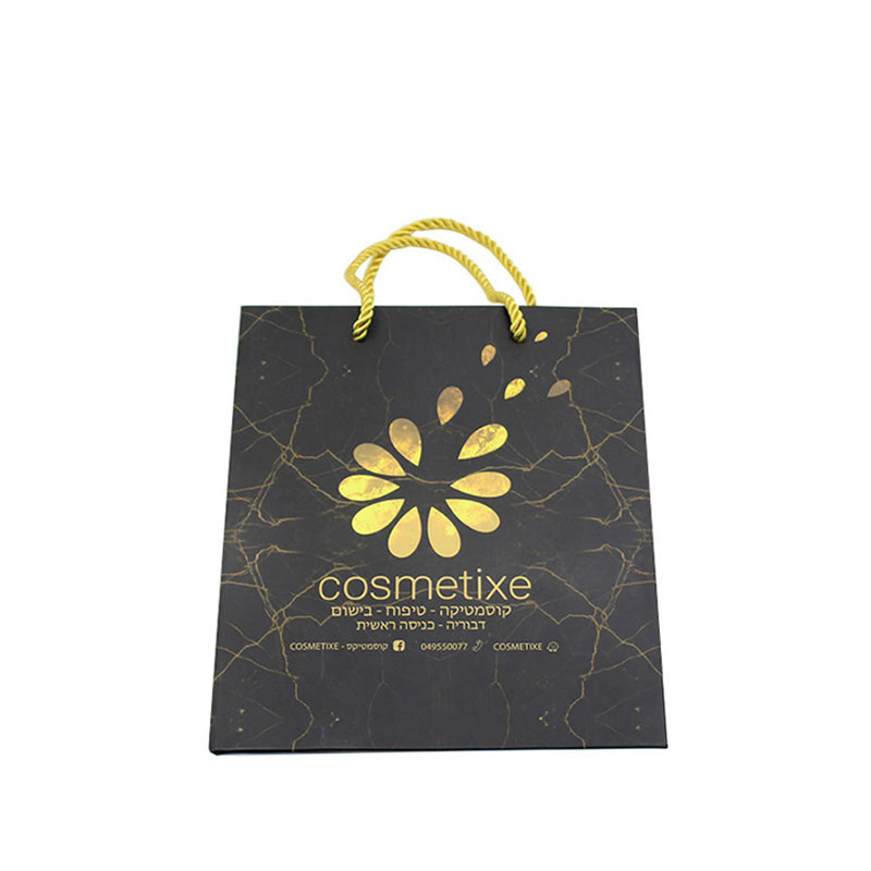 Elegant with Portable Rope Black Paper Marble Gift Bag