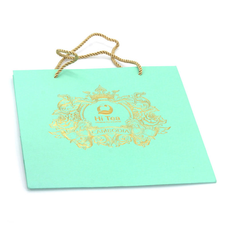 Factory Custom Design Logo Elegant Green Paper Shopping Bag