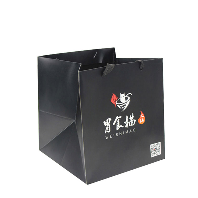 Handmade Custom Large Black Paper Fitness Food Paper Bag