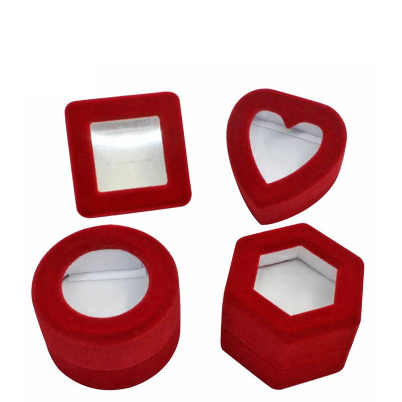 Luxury Custom Red Cylinder Engagement Velvet Ring Box