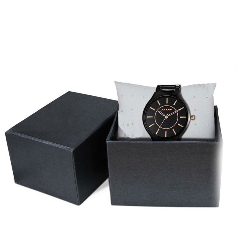 Handmade Custom Design Black Paper with Lid Single Watch Box
