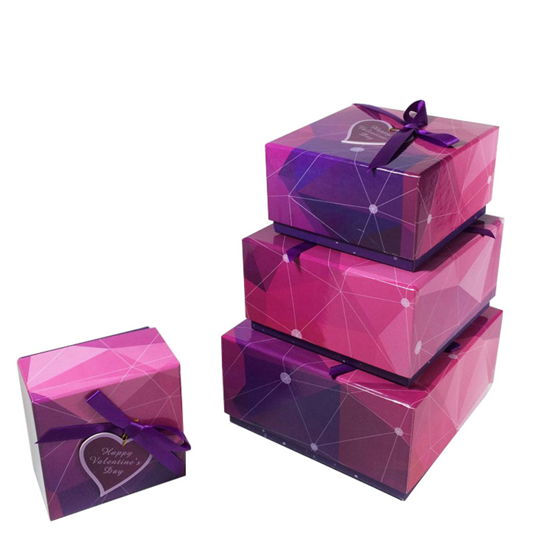 Accept Custom With Ribbon Engagement Paper Gift Box Packaging Box