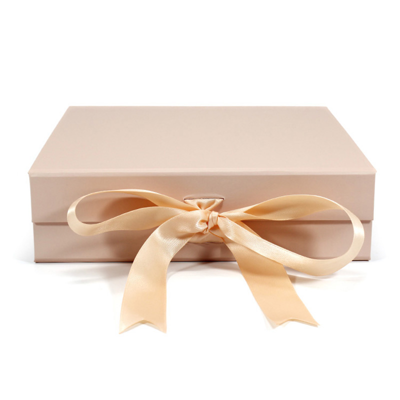 Luxury Cardboard With Ribbon Magnetic Foldable Packaging Box