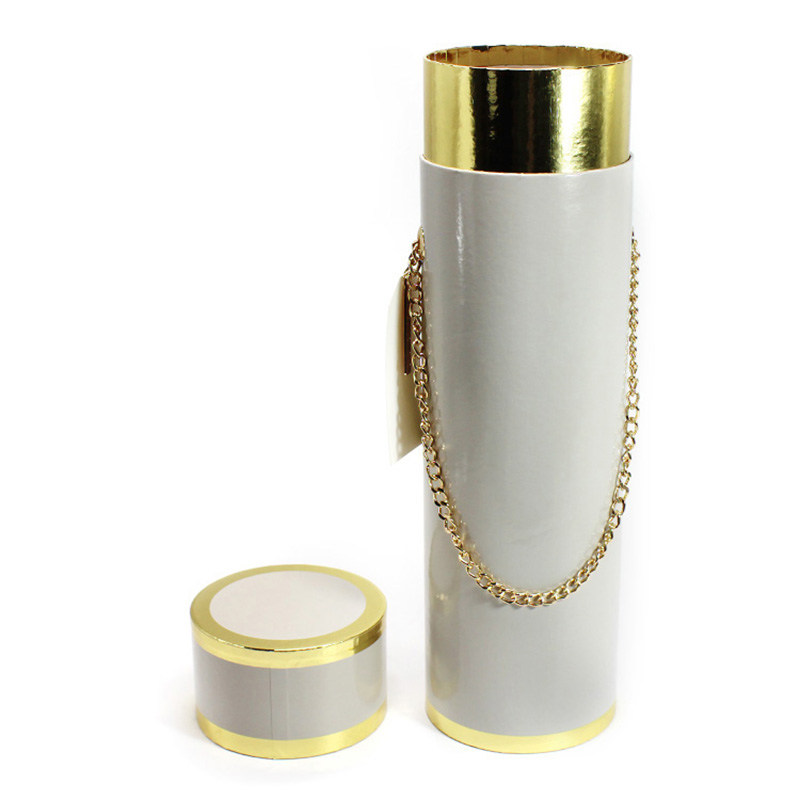 White Cylinder Round Paper Dimensions Packaging Box For Wine