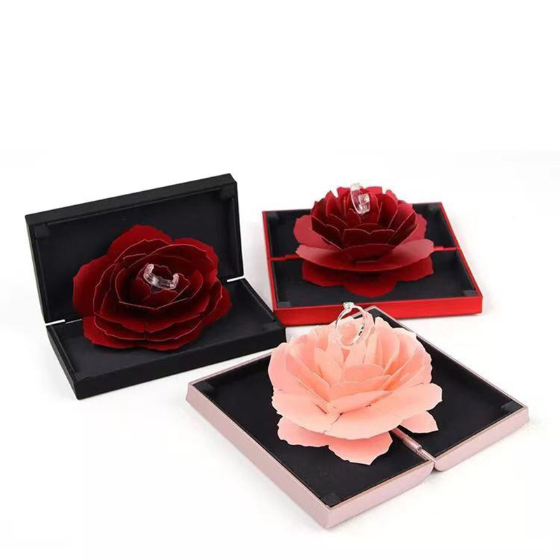 High Quality Unique Valentine's Day Jewelry Rose Bridal Ring Box