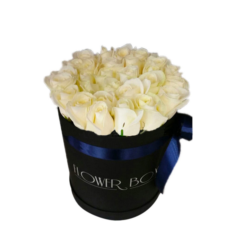 Valentine's Day Custom Printed Black Round Cylinder Flower Box