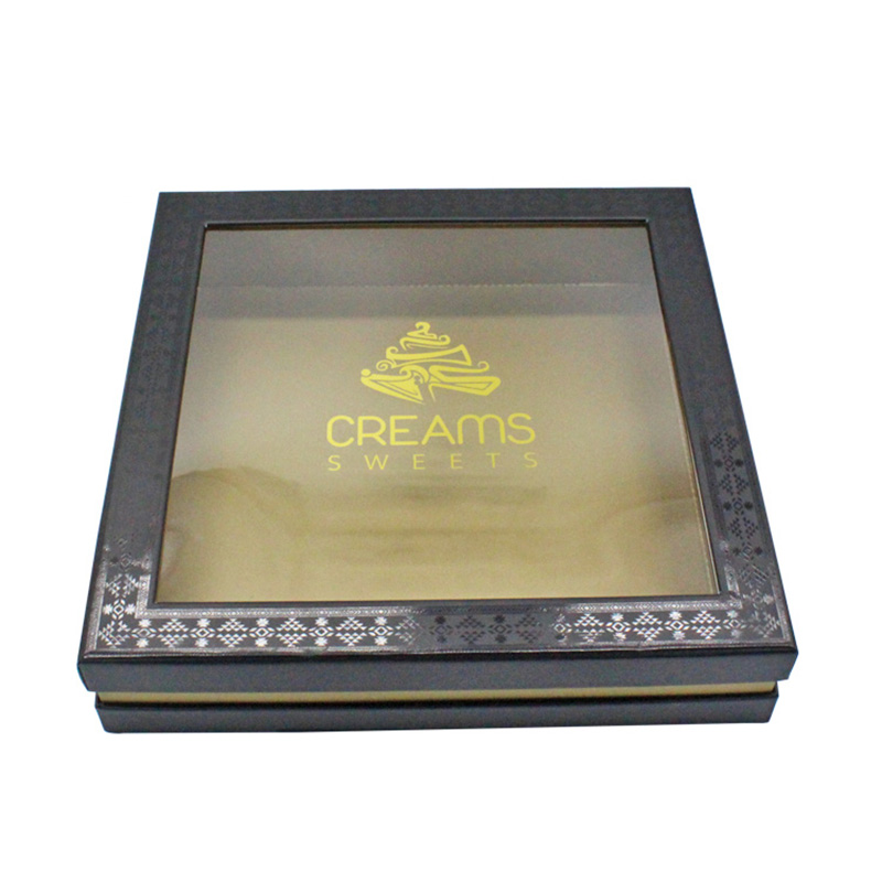 Luxury Antique Black With Window Paper Gift Cake Window Box