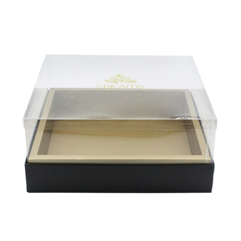 Custom Square Cardboard With PVC Lid Cake Packaging Boxes