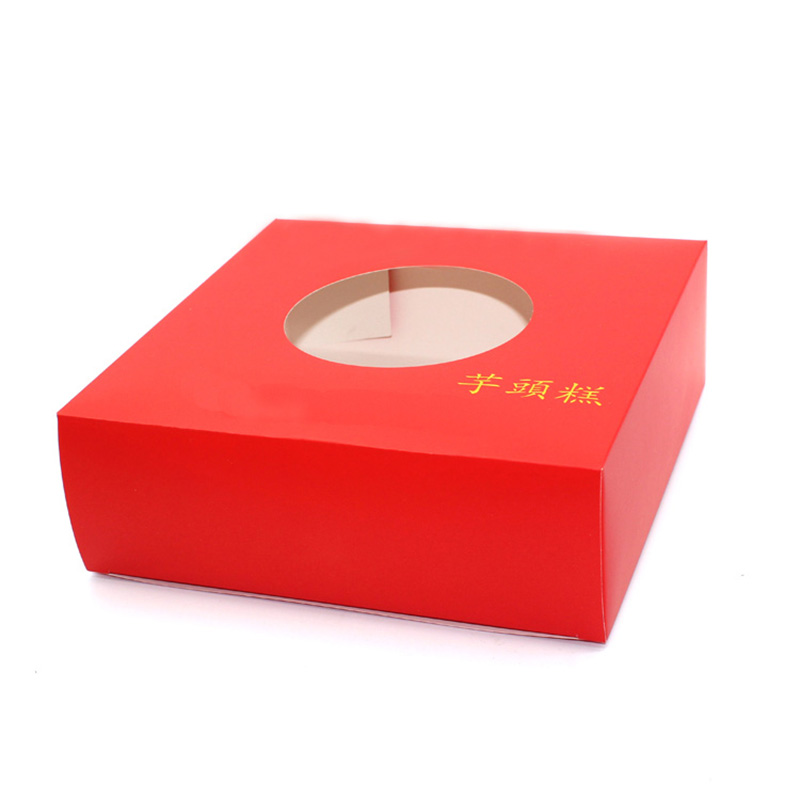 High Quality With Window Festival Red Paper Cookie Gift Box