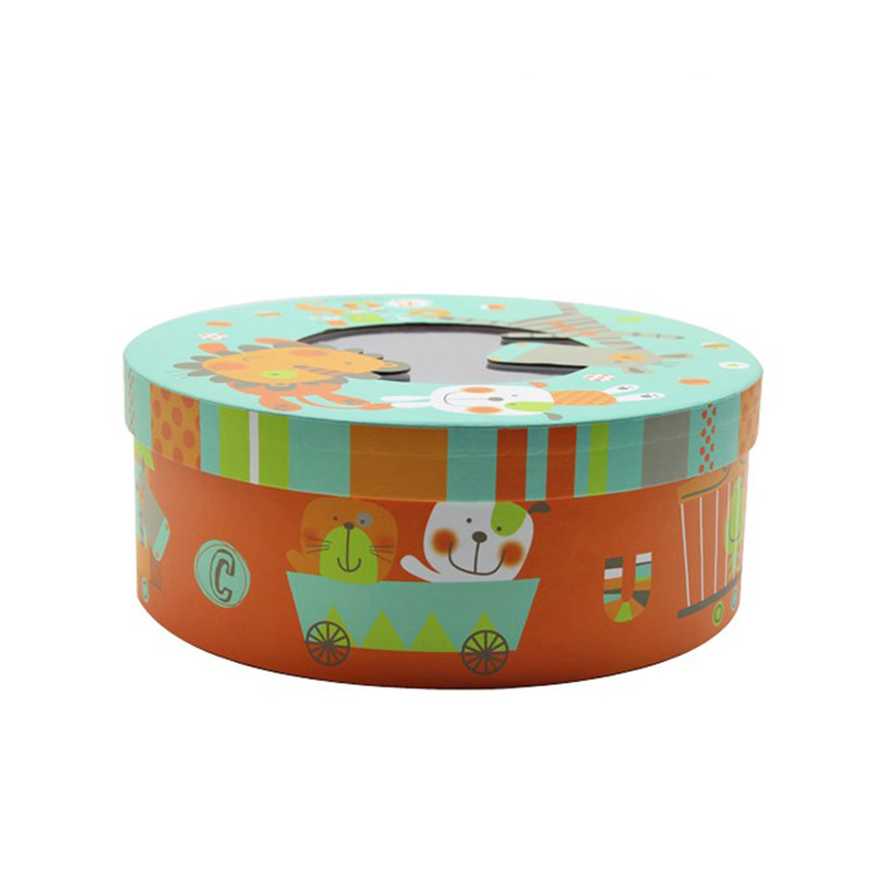 Window Round Cute Paper Children Biscuit Cookie Packaging Box