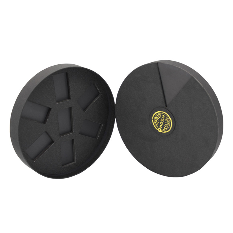 Luxury Round Shape Black Cardboard Storage Tea Packaging Box