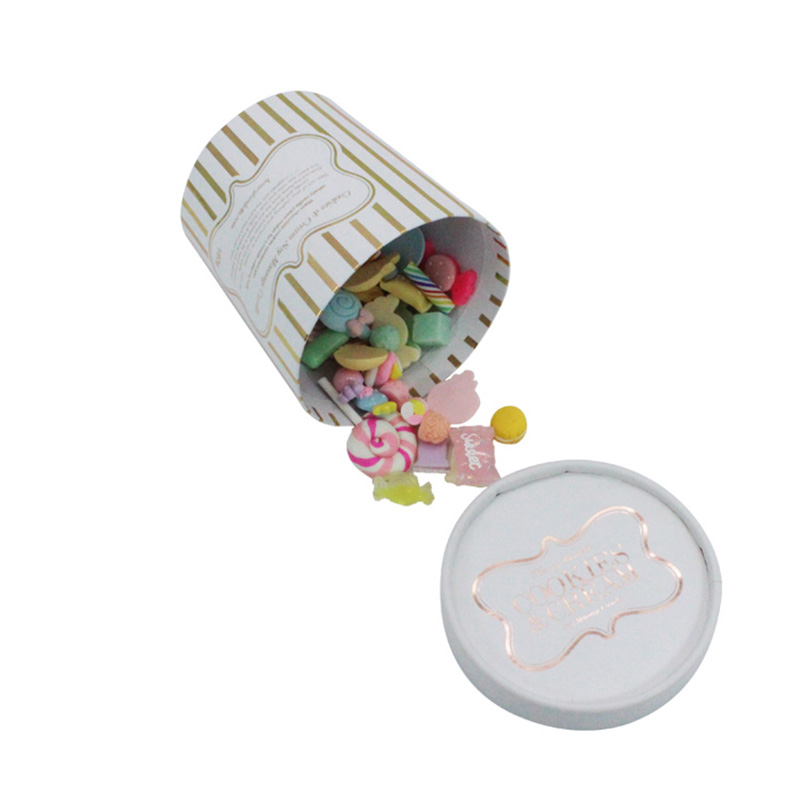 Luxury White Paper Cylinder Gift Candy Sweet Packing Box