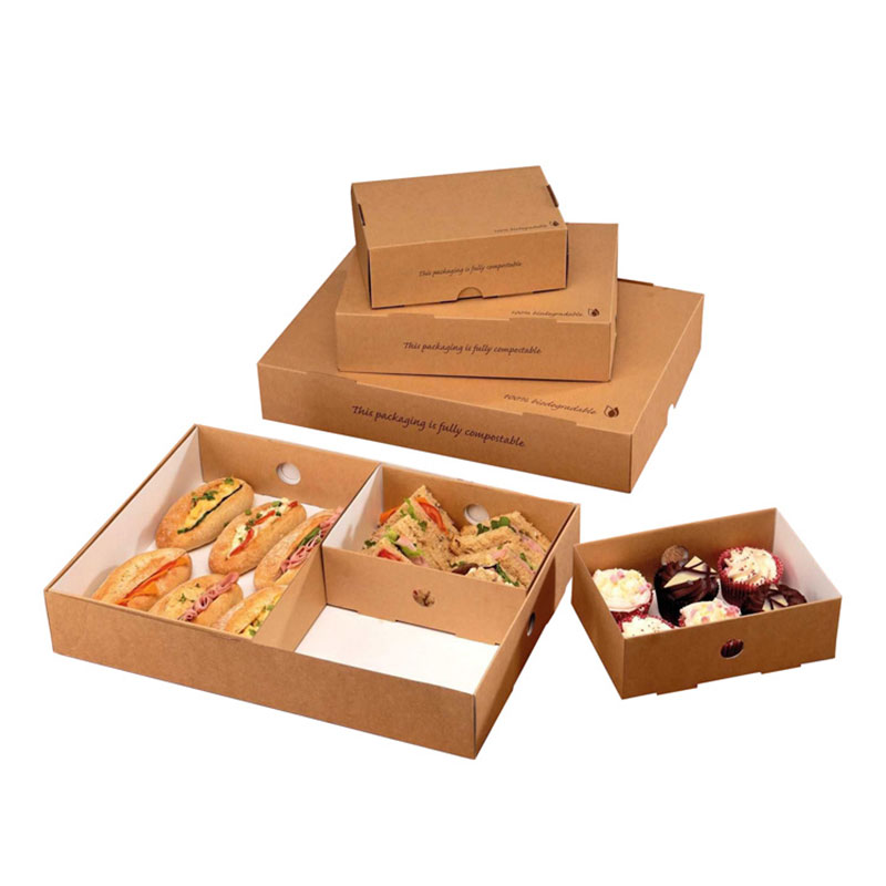 Accept Custom Kraft Paper Takeaway Fruit Sushi Food Packaging Box
