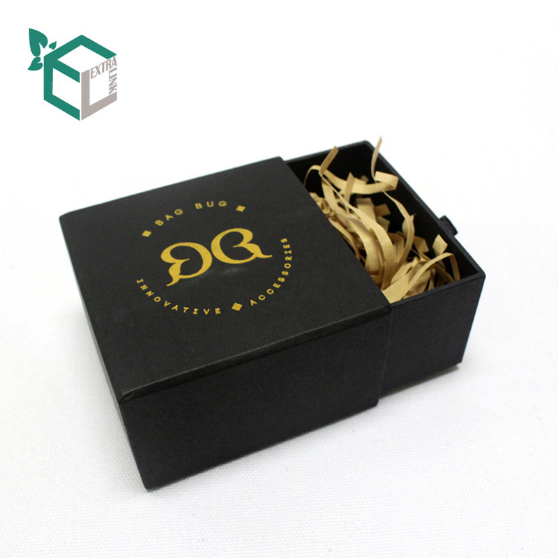 Best Selling Black Cardboard Drawer Box With Gold Stamping Logo For Bracelet