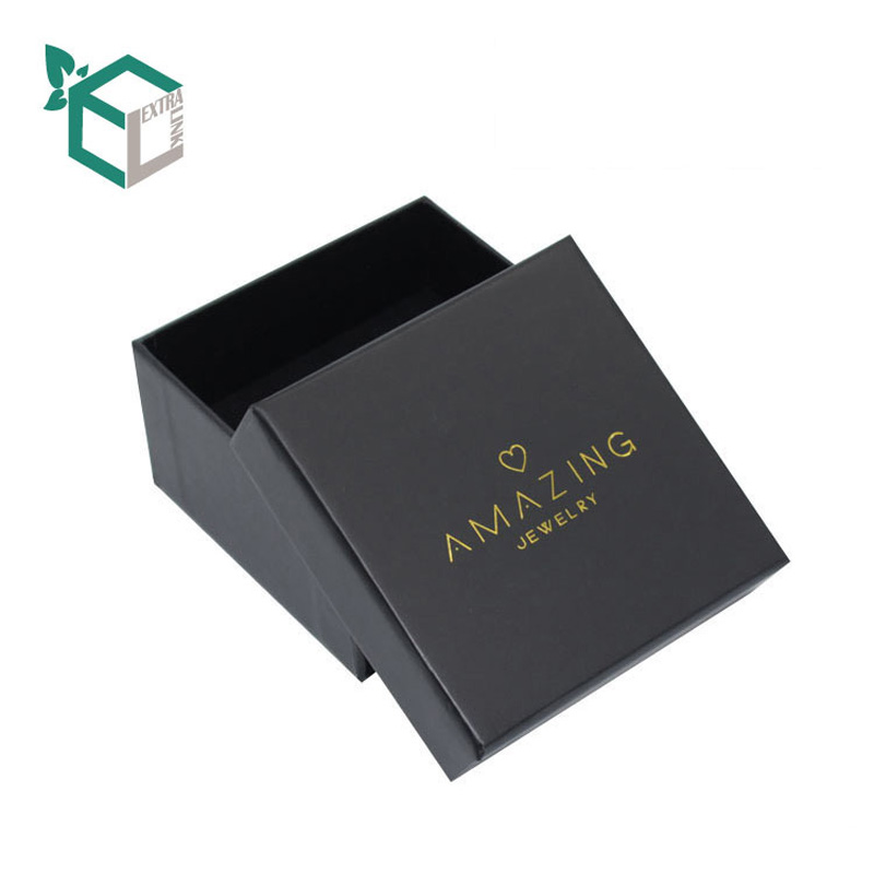 Square Black Cardboard Box Custom Bracelet Box With Foil Logo
