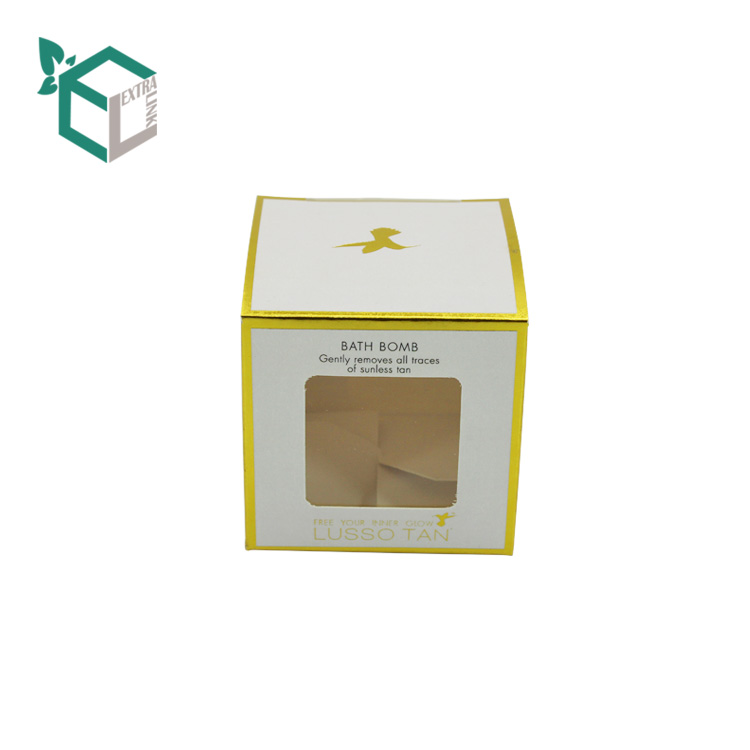 Gift Paper Packaging Folding Candle Box With Display Window