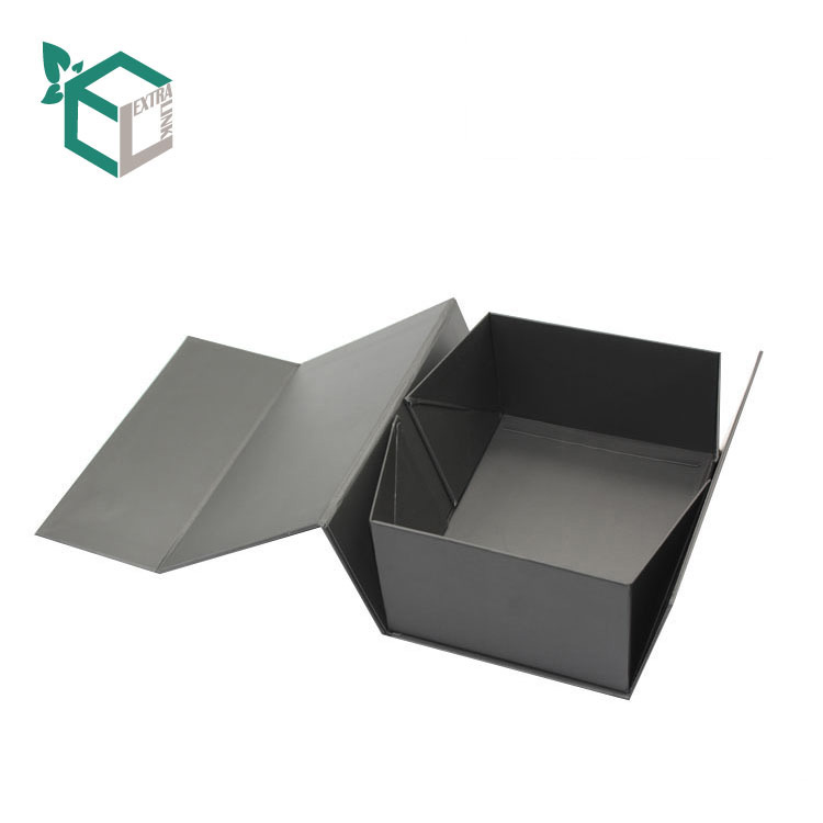 Custom Luxury Black Cardboard Rigid Paper Packaging Foldable Collapsible Gift Box
