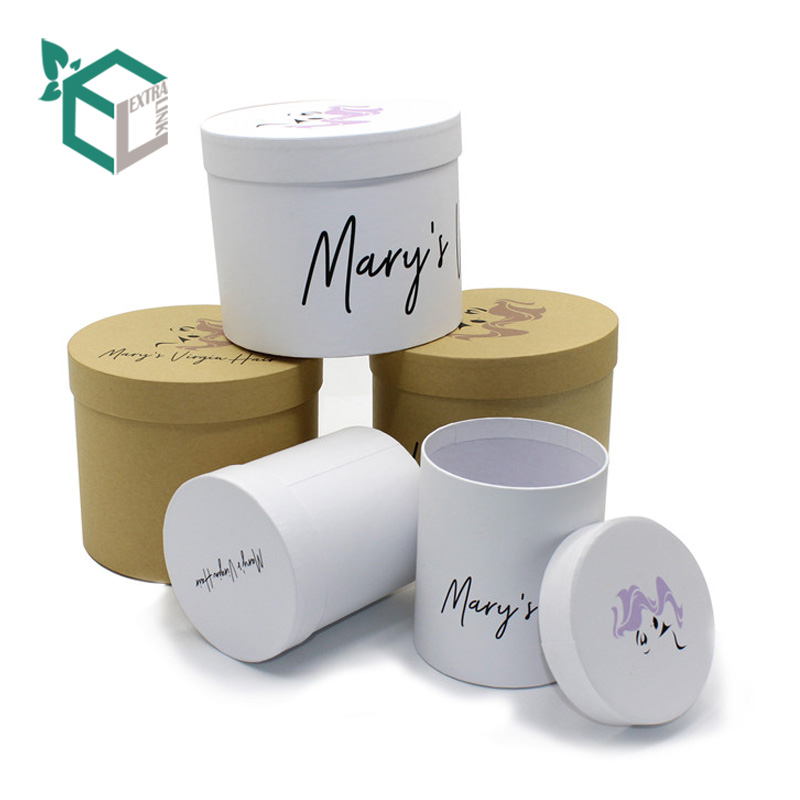 Round Shape Wholesale Custom Hair Extension Packaging Box