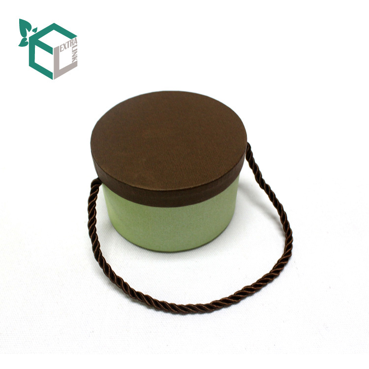 Custom Green Fancy Paper Brown Lid Gift Round Paper Tube Box With Handle