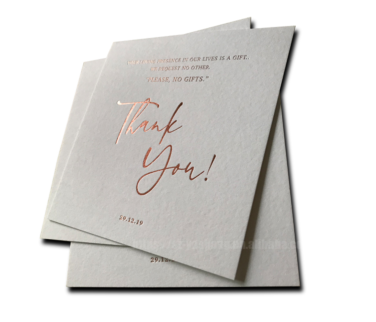 China Factory Printing Rose Gold Invitations Card For Wedding