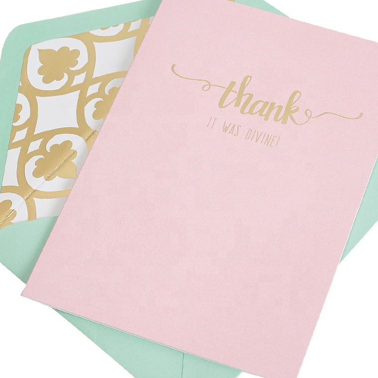 Pink Fashion Popular Thank You Greeting Cards With Foil Custom