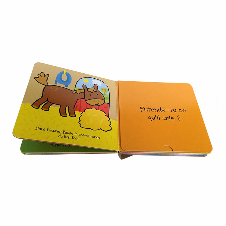 Custom English Kids Cardboard Books Baby Animal Story Board Book