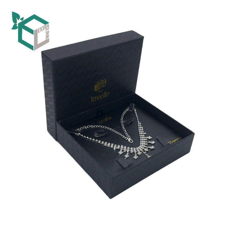 Foil Stamping Black Custom Paper Necklace Jewelry Box