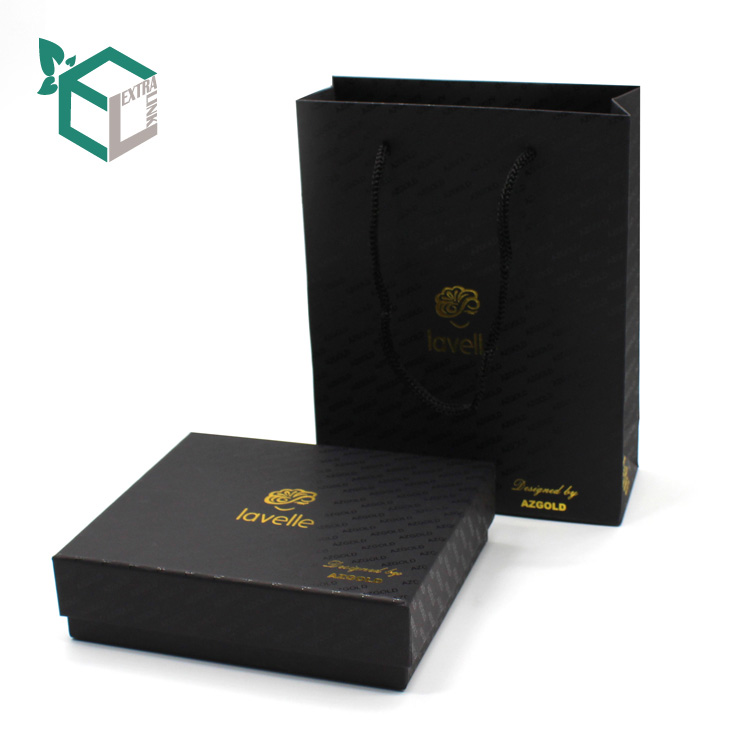 Luxury Black Hot Stamping Paper Necklace Packaging Box