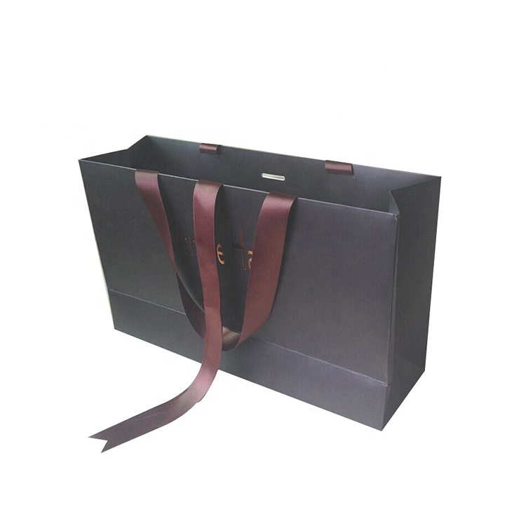 Custom Size Printing Color Luxury Shopping Paper Bag With Ribbon Handle