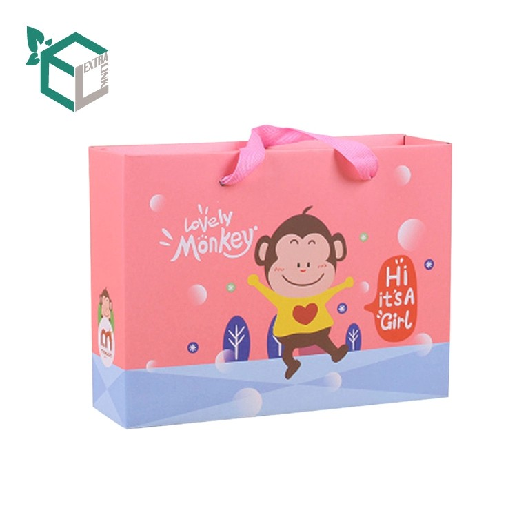 Customized Printing Cartoon Paper Shopping Bag For Baby Clothes