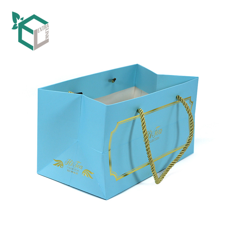 High Quality Blue Packaging Bag With Gold Foil Logo Big Shopping Bag