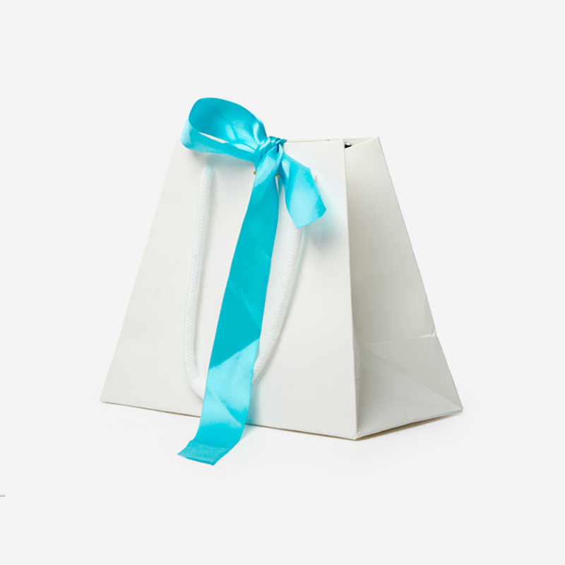 White Custom Printed Jewelry Shopping Paper Bags with Silk Bowknot