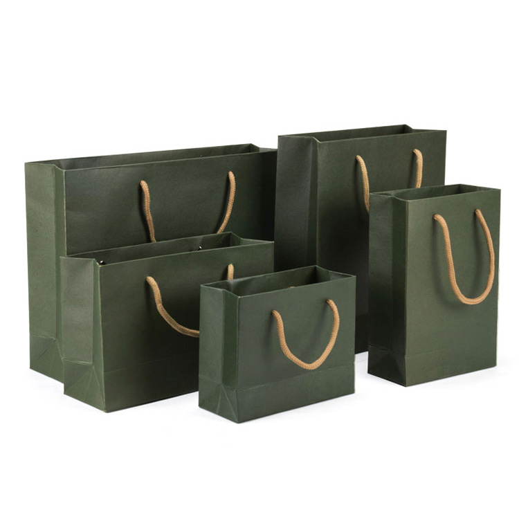 Custom Size High End Packaging Green Shopping Bag For Jewelry Shop