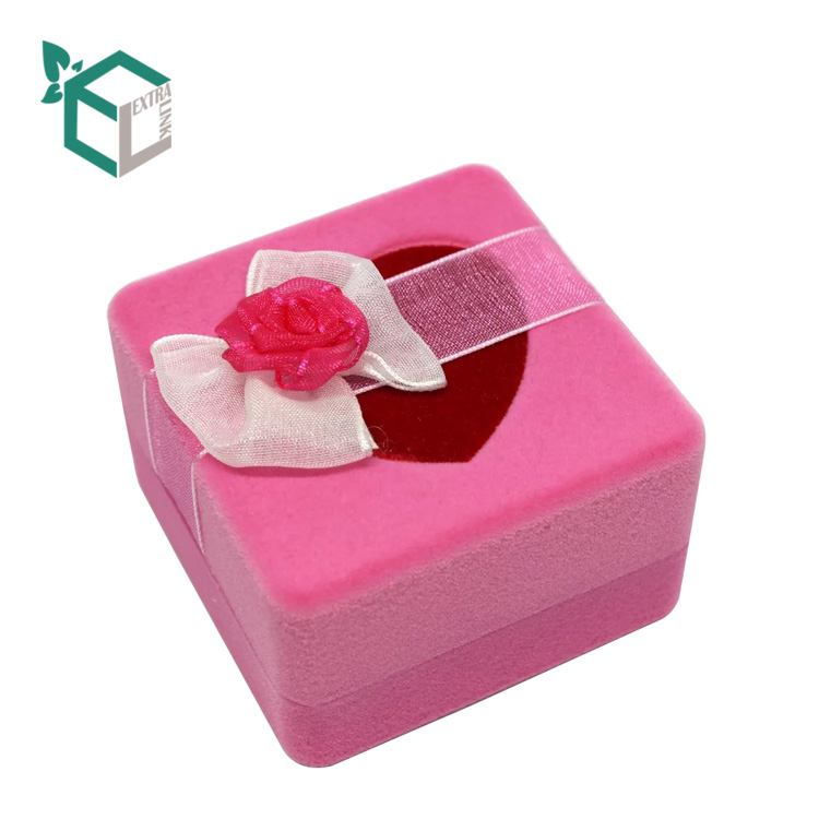 Square Shape With Pvc Window Wedding Ring Box