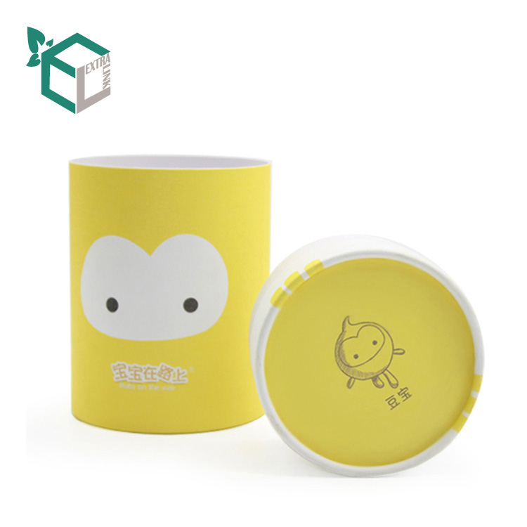High Quality Recycle Material Yellow Printing Cute Tube Paper Packaging