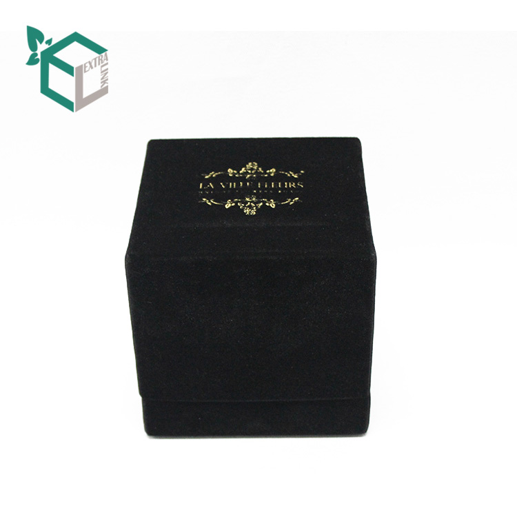 Cube Shape Luxury Black Velvet Bracelet Box With Gold Foil Logo