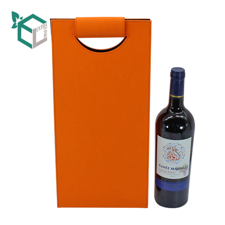 Wholesale Portable Orange Color Leather Wine Gift Storage Bag