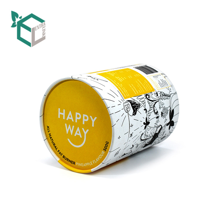 Yellow Color Printing Cosmetic Packaging Round Box