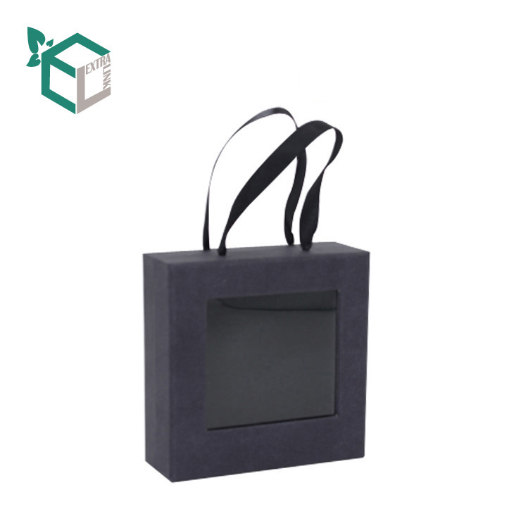 Black Jewelry Box With PVC Window Cufflink Paper Box With Handle