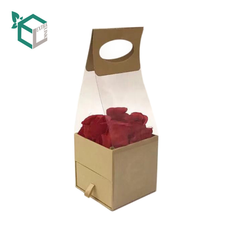 China Supplier PVC Window Drawer Box Flower Packaging with Handle