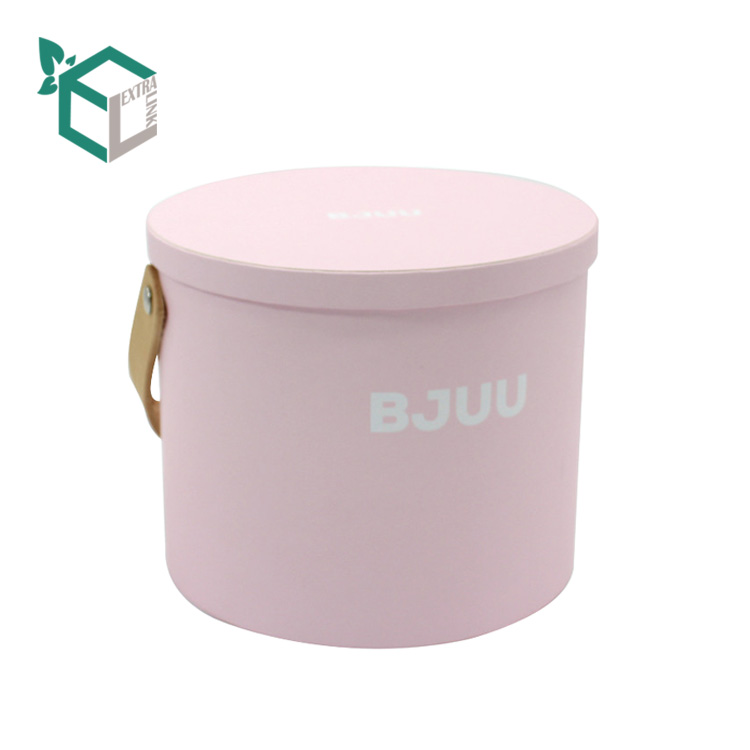 Custom Made Leather Handle Cylinder Box For Flower Packing
