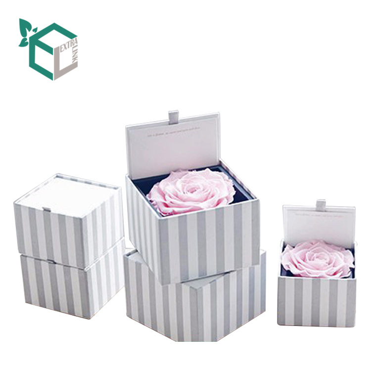 Custom Made Striped Printing Single Flower Square Gift Box