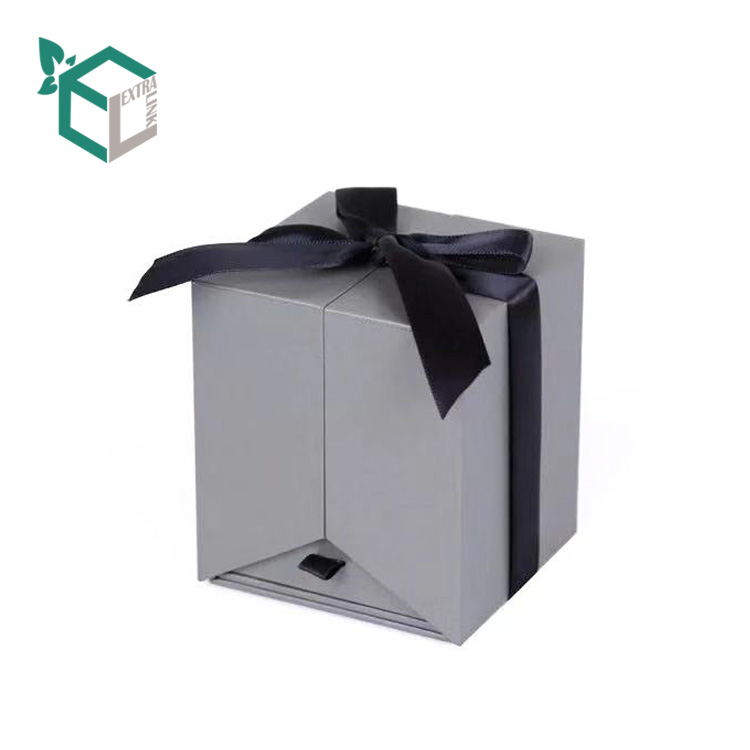 Double Door Custom Printing Flower Paper Packaging Drawer Box with Ribbon