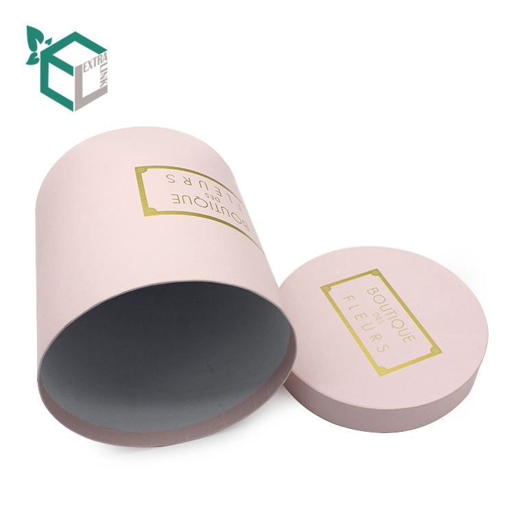 Pink Round Gold Foil Logo Box with Small MOQ