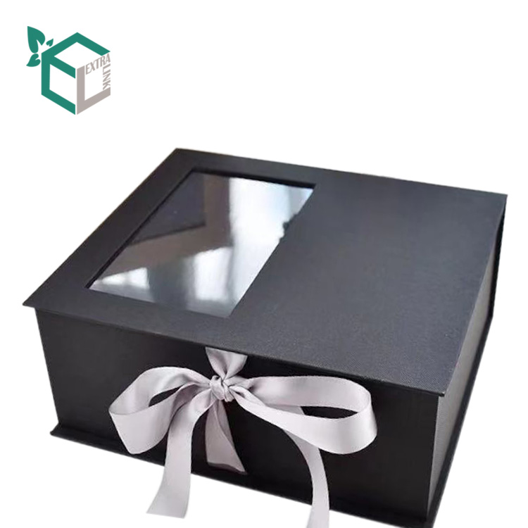 Ribbon & PVC Window Paper Gift Box With Magnet Closure For Flower