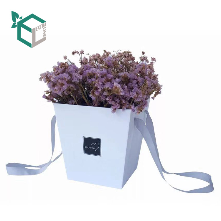 Ribbon Handle Bouquet Waterproof Packaging Box For Flower